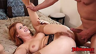 natural redhead tugs her hairy pussy