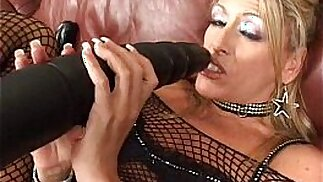 Chelsea pounding her holes with big b. dildos