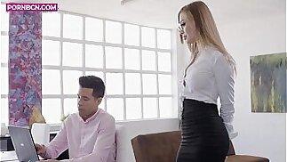 PORNBCN The hot russian blonde secretary Misha Maver wants her boss Alberto Blanco to fuck her ass with his big dick big tits blowjob hardcore doggy style orgasm deepthroat anal