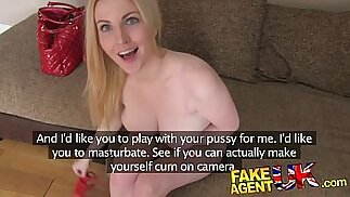 FakeAgentUK Busty blue eyed Scottish chick gets an anal creampie in fake casting