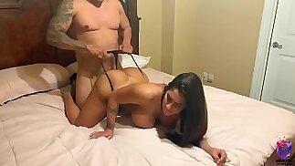 Big ass brunette bounces her ass on big cock after workout