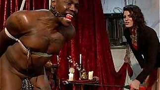 Black bound mucle guy fucked by mistress with black huge strapon cock