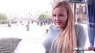 Slender blonde Candy Alexa first time fucking in public