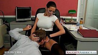 Office babe in glasses Kortney Kane fucking