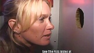 Hot MILF Takes All Cummers Bareback Style In The Gloryhole