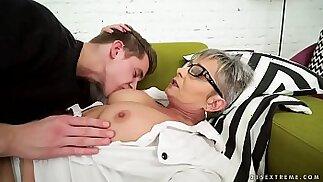 Lusty grandma vs young big cock Jessye, Oliver
