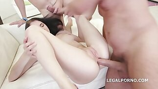 Young Sluts Crystal Greenvelle and Kira Thorn are Here for a Gangbang with DAP and Rough Fucking