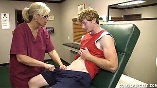 Blonde Nurse Has A Cum Shower