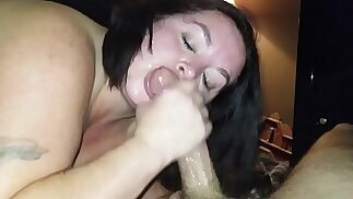 Sexy BBW Sucks hard Dick and Squirts all Over Cock pt