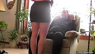 Beautiful wife blindfolded and shared by her husband humiliation, old guy, hard, moans