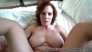 Horny Busty brunette Milf Andy Fucks Step Sons Big Cock!