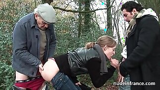 Amateur blonde anal pounded in threesome session with Papy Voyeur