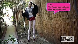 Skinny blonde teen slut Aria Haze gets pounded again by Hookup Hotshot
