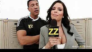 Busty sports journalist Veronica Avluv gang banged in locker room